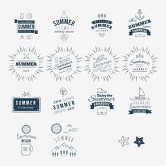 Retro hand drawn elements for Summer calligraphic designs