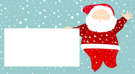 Santa Claus with a message board