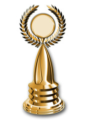 A golden winner's trophy with laurel wreath