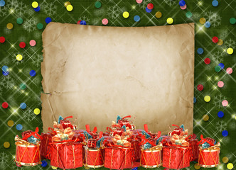 Christmas greeting card with presents on the  green abstract bac
