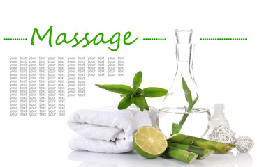 Spa setting on table on light background