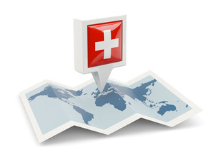 Square pin with flag of switzerland on the map