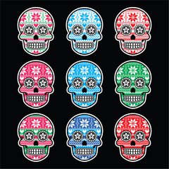 Mexican sugar skull with winter Nordic pattern on black
