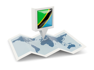 Square pin with flag of tanzania on the map