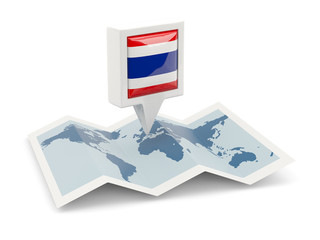 Square pin with flag of thailand on the map