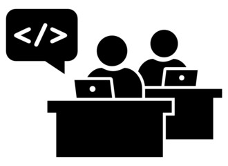 Software developers at workplace icon