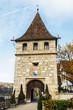 canvas print picture - Eingangsturm zum Schloss laufen am Rheinfall bei Schaffhausen
