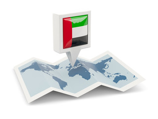 Square pin with flag of united arab emirates on the map