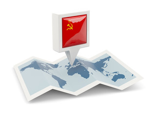 Square pin with flag of ussr on the map