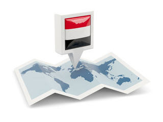 Square pin with flag of yemen on the map