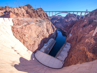 Hoover Dam across the Border of Nevada and Arizona, USA