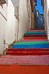 Multi colored painted steps