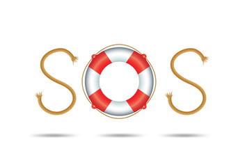 rope and float forming SOS signal