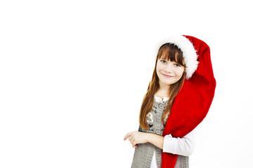 Little christmas girl presenting, empty billboard