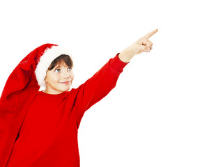 Christmas little girl pointing at copy space