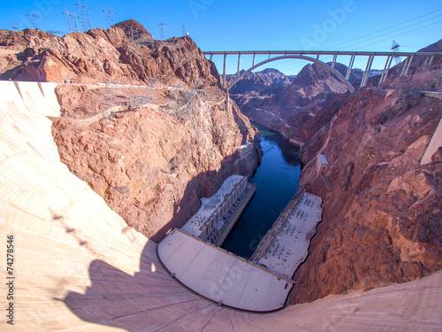 Hoover Dam across the Border of Nevada and Arizona, USA - 74278546