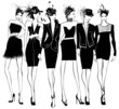 Women fashion models in black dress and feather hat - 74278764