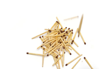 matches on the white background
