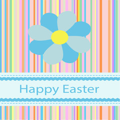 Colorful Happy Easter Sign with Pastel Blues