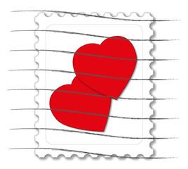 Vorlage Briefmarke mit Herzen