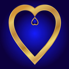 Valentine-Blue with Gold Hearts