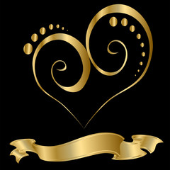 Gold Heart Design with Ribbon Over a Black Background