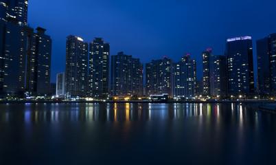 Night view of modern buildings, Haeundae in Busan, South Korea