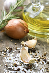 garlic, spices, onion, salt, olive oil