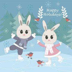 Сhristmas postcard with funny bunnies and birds skating