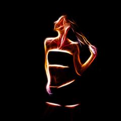 Sensual woman glowing silhouette