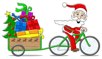 Weihnachtsmann liefert mit dem Fahrrad Geschenke aus