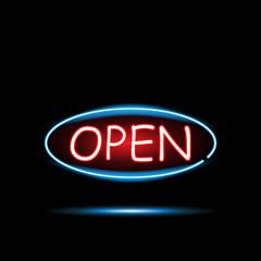Open Neon Sign Illustration