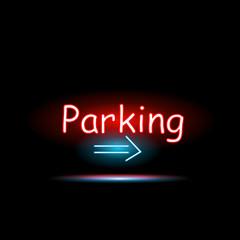 Parking Neon Sign Illustration
