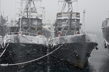 Snowstorm in the port