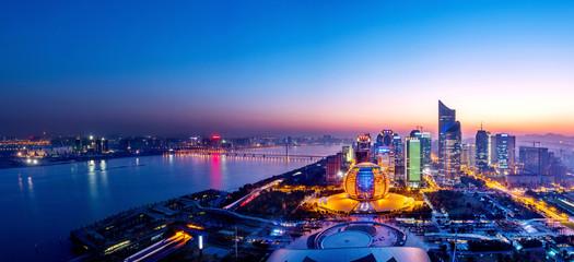 cityscape night view in hangzhou