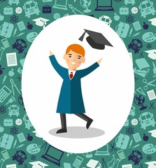 Illustration of graduate with background of education icons