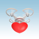 Quadcopter carrying heart mark on sky poster