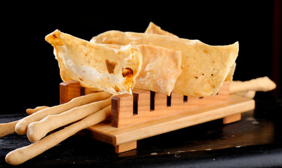 Fine dining Italian appetizers, Grissini bread sticks,crackers
