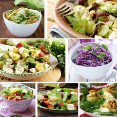 collage menu salads cabbage, potatoes and pasta