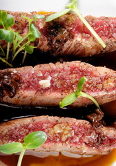 Fine dining, Angus Beef Steak fillets with Roasted tomato