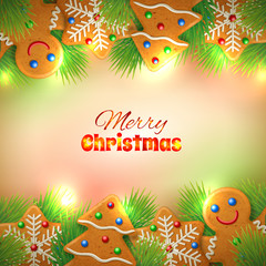 Сhristmas background with gingerbrea