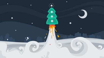 Christmas tree flies into space