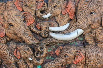 Elephant Wood Carving.