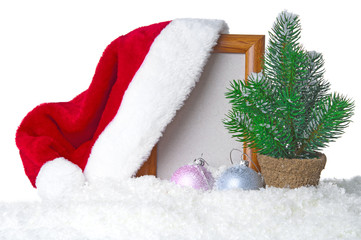 Christmas decoration with Santa hat and fir