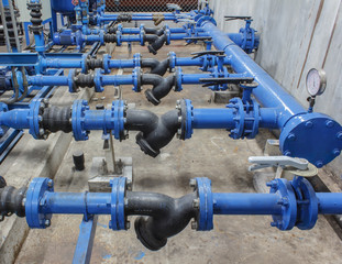 pipes valve connection blue