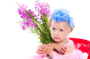 girl with a willow-herb bouquet