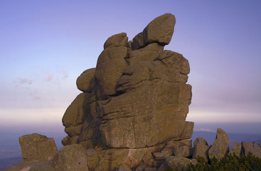 Rocks in the evening in the Giant Mountains in Poland.