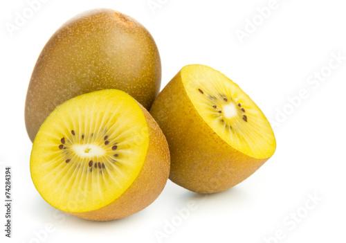 Leinwandbild Motiv Golden kiwifruit/ kiwi cut and whole