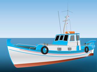 Greek Fishing Boat on a blue sea