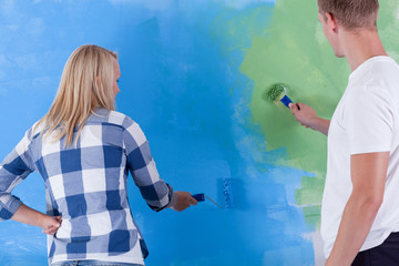 Blue and green painted wall